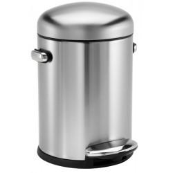 Poubelle à pédale Design Rétro inox mat 4,5 litres