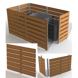 Module cache conteneur L 200 x H 135 cm motif teck