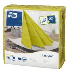 Carton de 12 paquets de 60 serviettes 39 x 39 cm Tork Premium Linestyle pistache