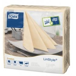 Carton de 12 paquets de 60 serviettes 39 x 39 cm Tork Premium Linestyle vanille