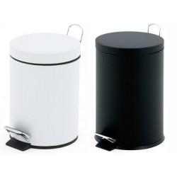 Lot de 2 poubelles à pédale blanc ou noir 12 litres