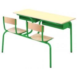 Table scolaire avec siège attenant Alice biplace 130x50 cm mélaminé