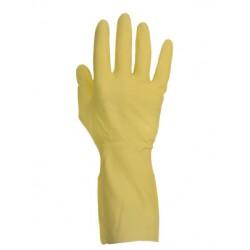 Gant de ménage latex jaune flocké coton (le carton de 144 paires)