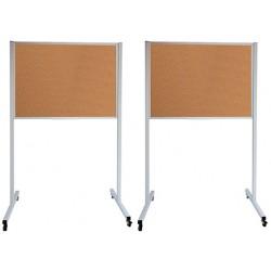 Panneau d'affichage sur pieds double face fond liège roulette 120 x 150 cm