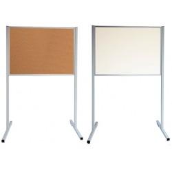 Panneau d'affichage sur pieds double face fond métal et liège patins 90 x 150 cm