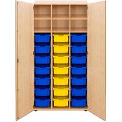 Armoire 2 portes battantes 3 colonnes 21 bacs b2 + 3 tablettes 105x40xH170 cm sur socle