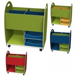 Caisse de rangement bas dessus 4 cases 2 tiroirs 1 niche L60 x P35 x H75 cm