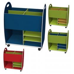 Caisse de rangement bas dessus 4 cases 2 étagères 1 niche L60 x P35 x H75 cm