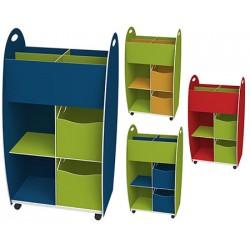 Caisse de rangement haut dessus 4 cases 2 tiroirs 2 niches L60 x P35 x H114 cm