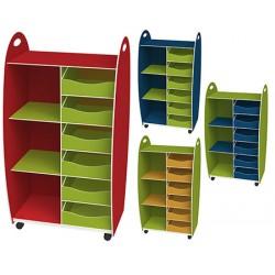 Meuble haut 2 étagères 6 tiroirs L60 x P35 x H114 cm