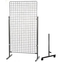 Paire de pieds à roulettes H 81 cm pour grille d'exposition modulaire