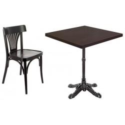 Ensemble 5 tables fonte et plateau Tavola stratifié 70x70 cm et 10 chaises New Orléans Courbé