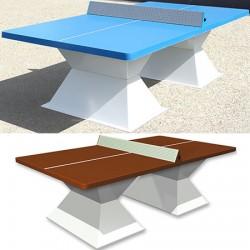 Table de ping pong antichoc espaces publics plateau HD 60 mm filet sécurit terre battue