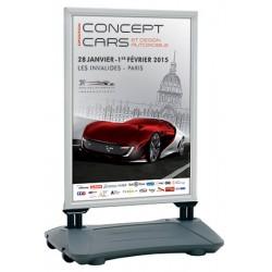 Panneau publicitaire sur ressorts et base lestée L70 x H100 cm