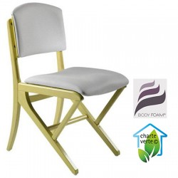 Chaise appui sur table bois Jasmin assise et dossier garnis tissu 1