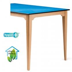 Table de restauration 4 pieds Violette bois plateau stratifié compact 160x80xh75 cm