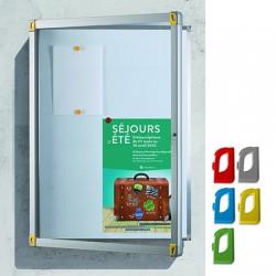 Vitrine d'extérieur Fusion porte verre fond tôle 6 A4 L74,5xH70,1 cm