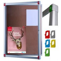 Vitrine d'intérieur Fusion porte verre fond liège 8 A4 L95,7xH70,1 cm