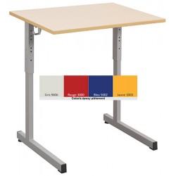 Lot de 2 tables scolaires NF à dégagement latéral Quatro mélaminé PVC 70x50 cm réglables T3 à T6 coloris stock