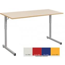 Lot de 2 tables scolaires NF à dégagement latéral Quatro mélaminé PVC 130x50 cm réglables T3 à T6 coloris stock