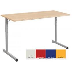 Lot de 2 tables scolaires NF à dégagement latéral Quatro stratifiée alaise 130x50 cm réglables T3 à T6 coloris stock