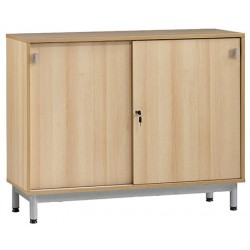 Meuble bas portes coulissantes L120xP45xH95 cm coloris hêtre_piet gris 9006