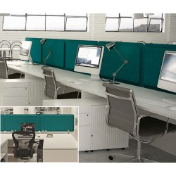 Panneau acoustique double face bureau avec 3 pinces L160 x H40 cm