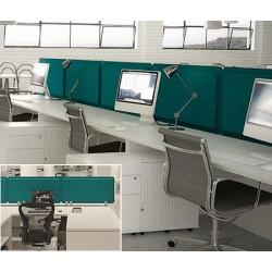 Panneau acoustique double face bureau avec 3 pinces L180 x H40 cm