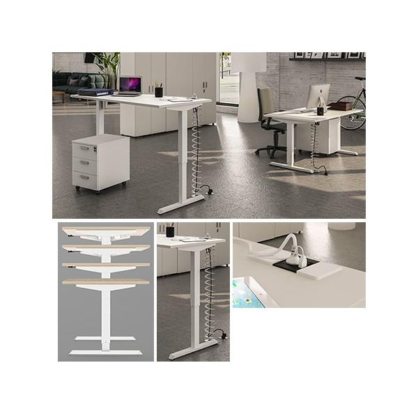 bureau confort r glable en hauteur lectriquement 160 x 80 cm. Black Bedroom Furniture Sets. Home Design Ideas