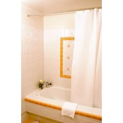 Lot de 10 rideaux de douche textile uni blanc ou couleur 100% polyester 180x200 cm