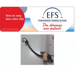 Banderole bâche PVC personnalisée avec 2 rondins et sandows H80 x L200 cm