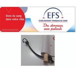 Banderole bâche PVC personnalisée avec 2 rondins et sandows H80 x L300 cm