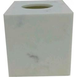 Lot de 12 boites à mouchoirs 13 x 13 x H15 cm résine marbre