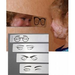 """Lot de 4 sets de 4 miroirs antichocs 100 x 5 cm et autocollants """"yeux"""""""