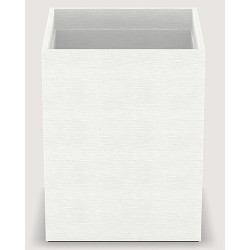 Corbeille Cube similicuir vague blanc 10 L