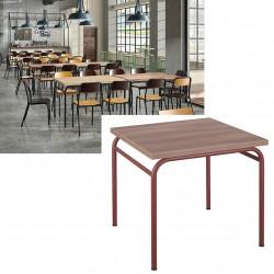 Table de restauration 4 pieds Vintage MDF stratifié 80x80 cm