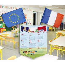 """Lot écusson PVC 40x50 cm """"Marseillaise"""" modèle 1 et 2 drapeaux 40x60 cm"""