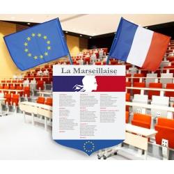 """Lot écusson PVC 40x50 cm """"Marseillaise"""" modèle 3 et 2 drapeaux 40x60 cm"""