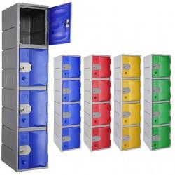 Vestiaire multicases PEHD rotomoulé 1 colonne 4 cases L38,5 x P50 x H181 cm