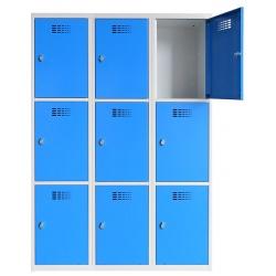 Vestiaire multicases  3 colonnes 3 cases L120 x P50 x H 180 cm