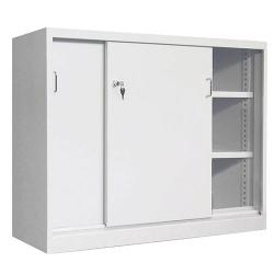 Armoire monobloc basse portes coulissantes avec 2 étagères L120 x P43,5 x H 104 cm