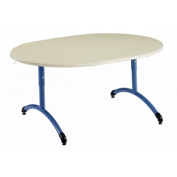 Table maternelle réglable NF T1 à T4 à dégagement latéral Loulou mélaminé ovale 120x90 cm