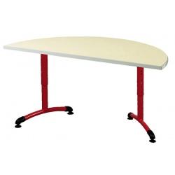 Table maternelle réglable NF T1 à T4 à dégagement latéral Loulou stratifié 1/2 lune ø 120 cm
