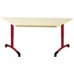Table maternelle réglable NF T1 à T4 à dégagement latéral Loulou stratifié trapeze 120x60x60 cm