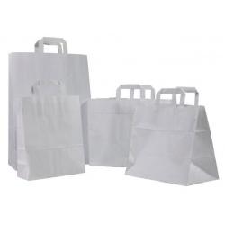 Sacs cabas poignées plates kraft blanc 22+10x28 (le carton de 250)