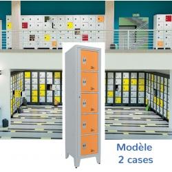 Casiers élèves visitables fermeture moraillon 2 cases H207xL50,2xP55 cm