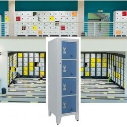 Casiers élèves visitables fermeture moraillon 4 cases H170xL50,2xP55 cm