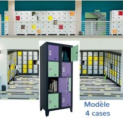 Casiers élèves visitables fermeture moraillon 4 cases H207xL90,2xP55 cm