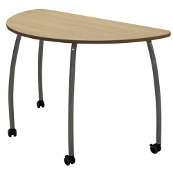 Table maternelle mobile Lucie 1/2 rond 120 cm mélaminé chants ABS T3