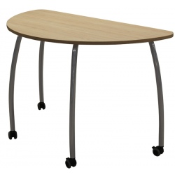 Table scolaire mobile Lucie 1/2 rond 130 cm mélaminé chants ABS T6